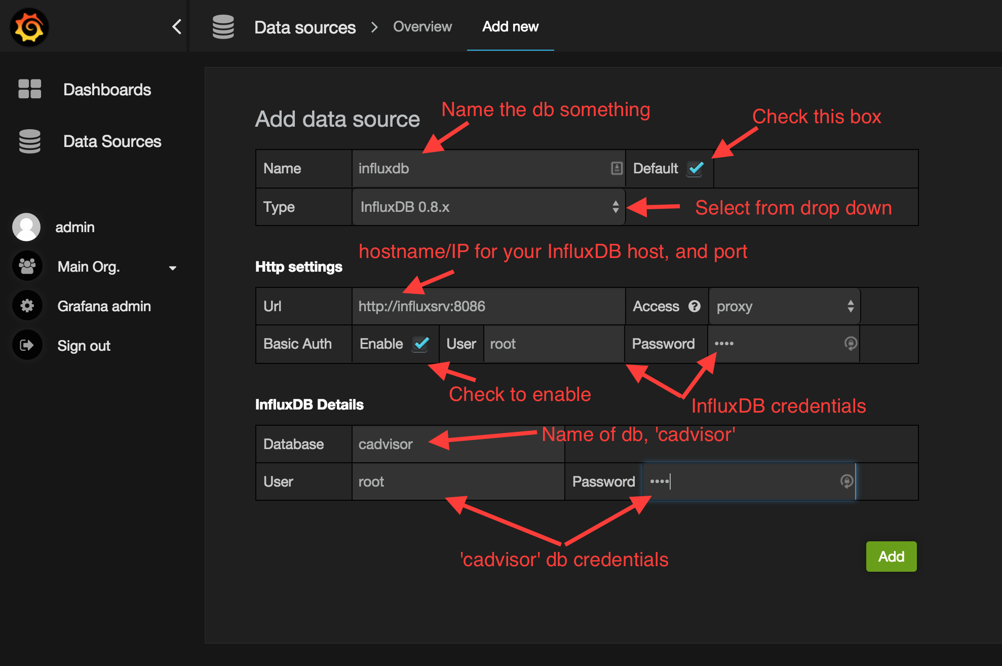 Grafana Creating a Data Source