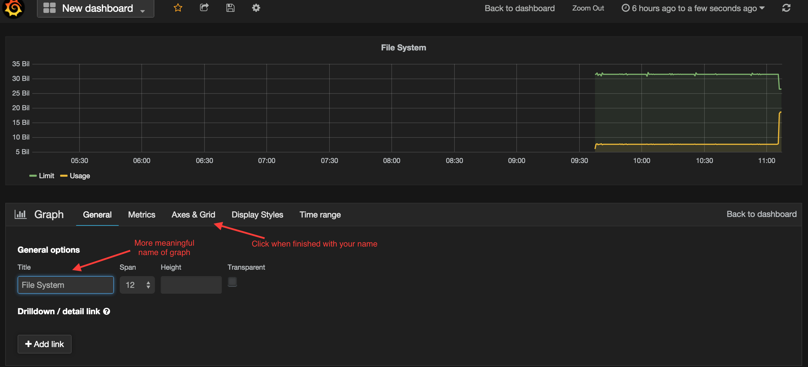 Grafana Naming a Graph